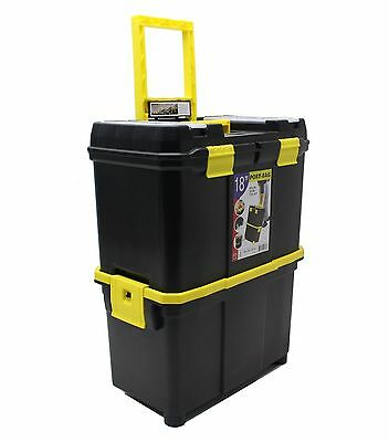 "18"" Double Mobile Tool Box Pull Along Trolley On Wheels Parts Storage Organiser"
