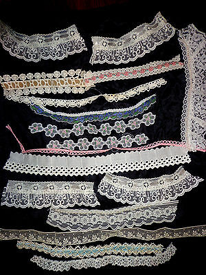 * VINTAGE- tiny-LACE - TRIMS - LOT - EMBROIDERED- -#10