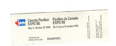 EXPO 86 Vancouver Worlds Fair Admission Ticket CANADA PAVILION TELEGLOBE THEATRE