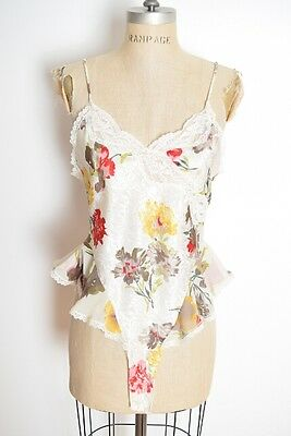 vintage 90s teddy white floral print satin ruffle one piece negligee romper M