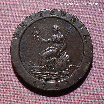 1797 King George Iii Copper Cartwheel Twopence