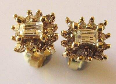 Secondhand 18ct Yellow Gold Millenium Cut Diamond Oblong Cluster Stud Earrings.