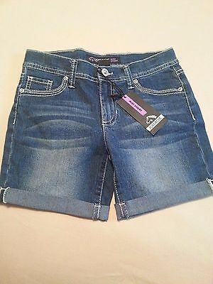 Jordache Adjustable Waist Everyday Solid Blue Jean Shorts Girls NWT size 12