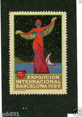 Vintage Poster Stamp EXPOSICION INTERNATIONAL BARCELONA 1929 woman red night
