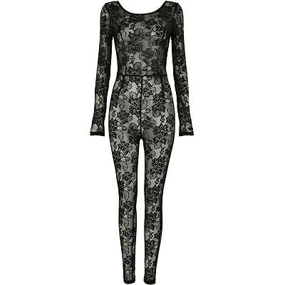 New Full Lace Sheer Scoop Back Long Sleeve Bodycon Mesh Jumpsuit Bodystocking