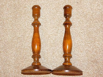 Pair Of Carved Oak Wood Candlesticks With Brass Sconces