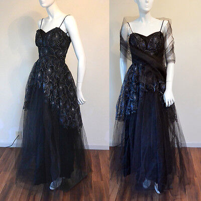 Vintage 1950s Black Tulle Prom Party Evening Dress Metallic Embroidered w Wrap
