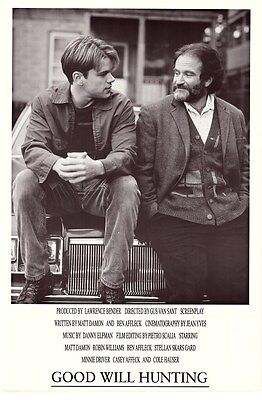 GOOD WILL HUNTING ~ DUO 24x36 MOVIE POSTER Matt Damon Robin Williams NEW/ROLLED!