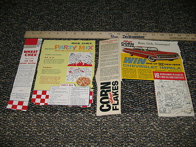 cereal box parts 1960s Kelloggs CF Ralston Rice Chex CHEVY IMPALA