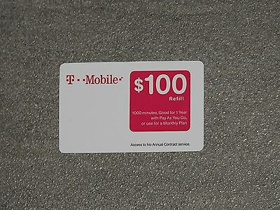 T-MOBILE TMobile $100 PREPAID REFILL CARD, New Unscratched