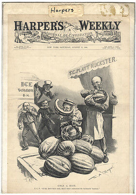 Rare Antique Orig VTG 1895 Harper's Weekly Rogers Cover Only Engraving Art Print