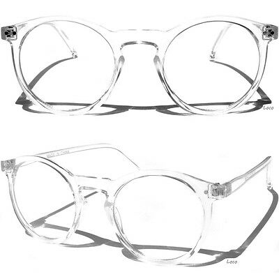 Transparent Frame Clear Lens Glasses Retro Fashion Style Round Horn Rimmed