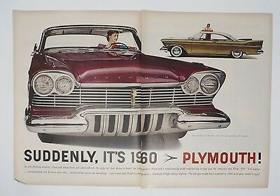 Original Print Ad 1956 PLYMOUTH Suddenly It's 1960 Vintage Auto 2 Page