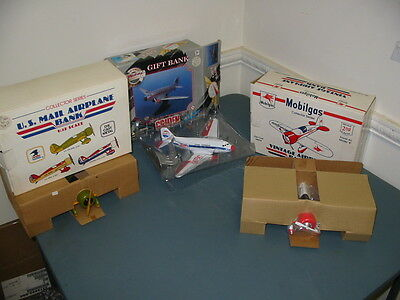 Lot of 3 Collectable Airplane Banks