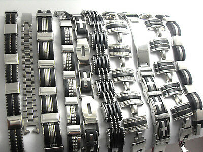 10 pieces STAINLESS STEEL RUBBER BRACELETS Wristband men's designs