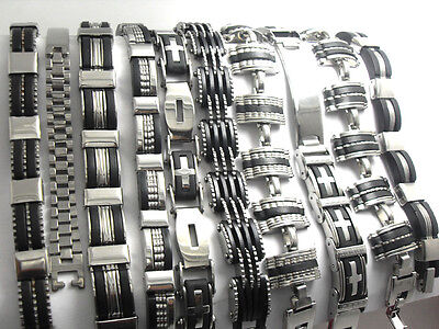Wholesale 10 X Stainless Steel Bracelets Wristband Men's Style Jewelry Gifts