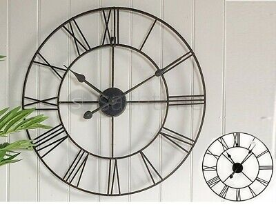 40Cm Large Roman Numerals Skeleton Wall Clock Big Giant Open Face Round Metal