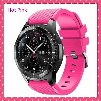 Hot Pink Silicone Strap Wrist Band For Samsung Gear S3 Frontier Classic Watch