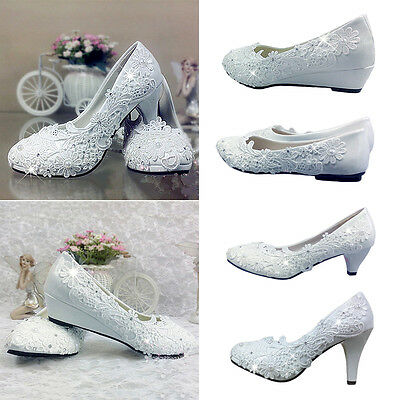 Women Ladies White High Heels Flower Pearl Rhinestones Wedding Waterproof Shoes
