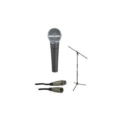 Shure SM58-LC Cardioid Handheld Wired Microphone w/Boom Stand /25' XLR Mic Cable