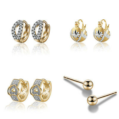 18k Gold Plated Beautiful Baby Earrings Small Hoops for Girls Hearts Stars