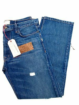 Current Elliott The Buckle Back Distressed Blue Jeans Sz 36  Retail $275 NWT