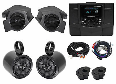 Rockford Fosgate Polaris RZR-STAGE2 Receiver+Speakers+Pods+Kicker Tower Speakers