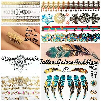 Metallic Henna Temporary Tattoos, Festival Glam Tattoos, Gold Boho Flash Tattoos