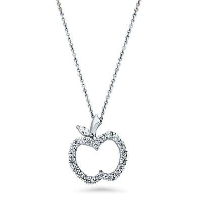 BERRICLE Sterling Silver CZ Apple Fashion Pendant Necklace