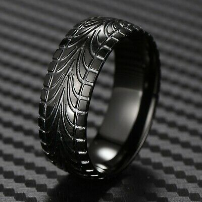 Black Stainless Steel Men's Tire Track Wedding Band Ring Size 9-15