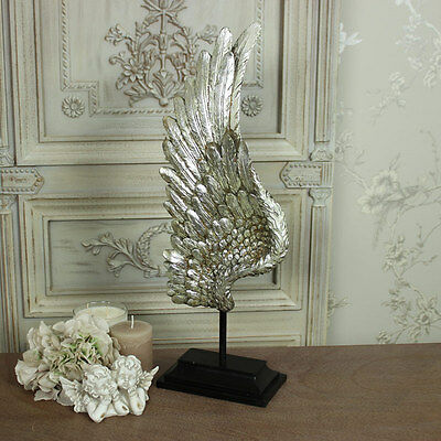 Large silver angel wing on stand ornament shabby vintage chic decorative gift