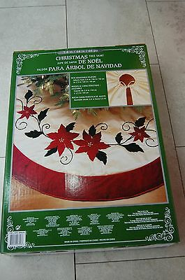 Christmas Tree Skirt Luxury Red Poinsettia Massive 1.6m (adjustable) FREE P&P
