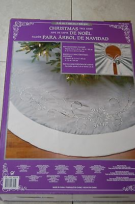 Christmas Tree Skirt Luxury Silver/Faux Fur Massive 1.6m (adjustable) FREE P&P
