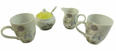 Beatrix Potter Peter Rabbit Blue Lilac Porcelain Mugs Creamer Jug Sugar Bowl Set