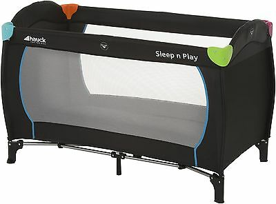 NEW Hauck Sleep n Play Travel Cot with Carry Bag & 120cm x 60cm Mattress - Black