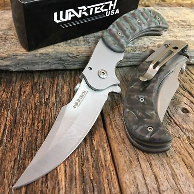 """8"""" Tactical Spring Assisted Open Pocket Knife ABALONE Handle IMT. DAMASCUS"""