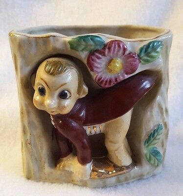 "Vintage Planter Pixie Elf Leprechaun Cricket Gnome Tree Stump Japan 3.5"" x 4"""