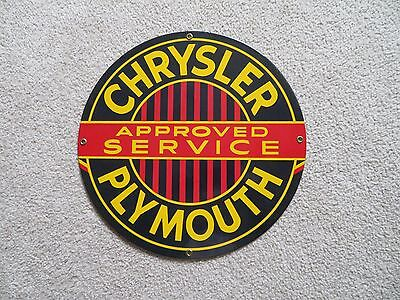 Vintage Chrysler Approved Service Plymouth Round enamel sign