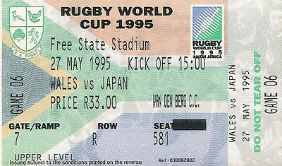 Wales v Japan 27 May 1995 RUGBY WORLD CUP TICKET Bloemfontein