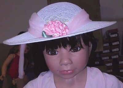 NWT White Lace Widebrim hat with pink rosette and chiffon accent adult size