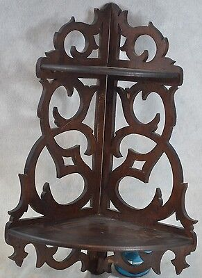 shelf hanging corner fancy fretwork what not folding Victorian antique original