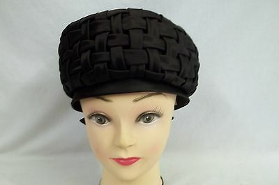 Schiaparelli Made In Italy Deep Brown Woven Satin Ladies Pillbox Hat