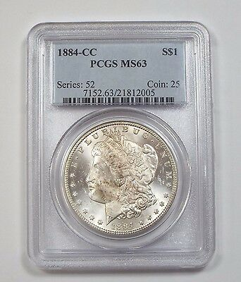 1884-CC Morgan $ CERTIFIED PCGS MS 63 Carson City Silver Dollar
