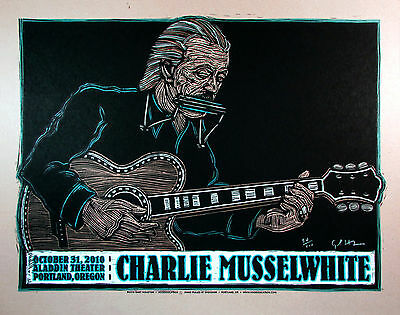 Charlie Musselwhite Poster Original 100 Hand-Signed Silkscreen by Gary Houston