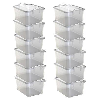 Life Story Clear Stackable Closet & Storage Box 55 Quart Containers, (12 Pack)