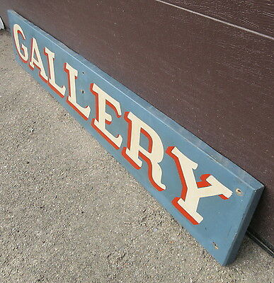 5 Foot Vintage Sign Reads: GALLERY Hand Painted Federal Blue, Red & Cream