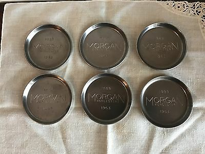 Vintage Lot of 6 Morgan Worcester Metal Coasters 1963
