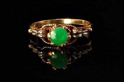 Vintage Chinese Deep Apple Green Jadeite Jade 14K Gold Ring