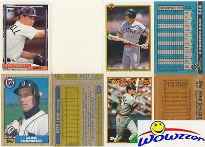 Rare Lot of (9) Different Topps Alan Trammell ERROR CARDS from 1987-1992