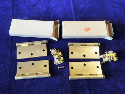 "Vtg NOS 2pr Brass Plated Steel Butt Door Hinges 3 1/2"" x 3 1/2"" Stanley 741   A4"